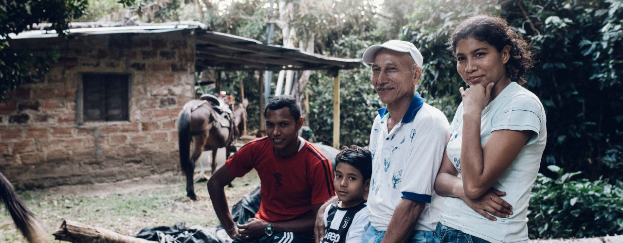 Farmer Victor together with his family in Santa Marta, Colombia